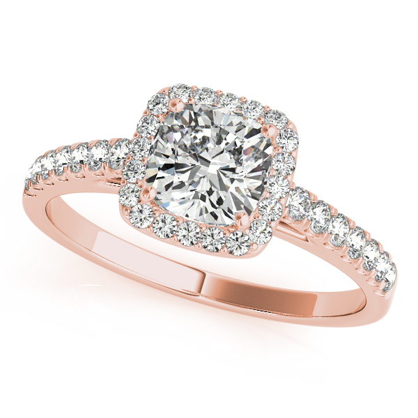 14K Rose Gold Halo Engagement Ring Douglas Diamonds Faribault, MN
