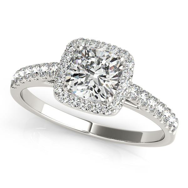 14K White Gold Halo Engagement Ring Douglas Diamonds Faribault, MN