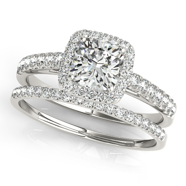 14K White Gold Halo Engagement Ring Image 3 Douglas Diamonds Faribault, MN