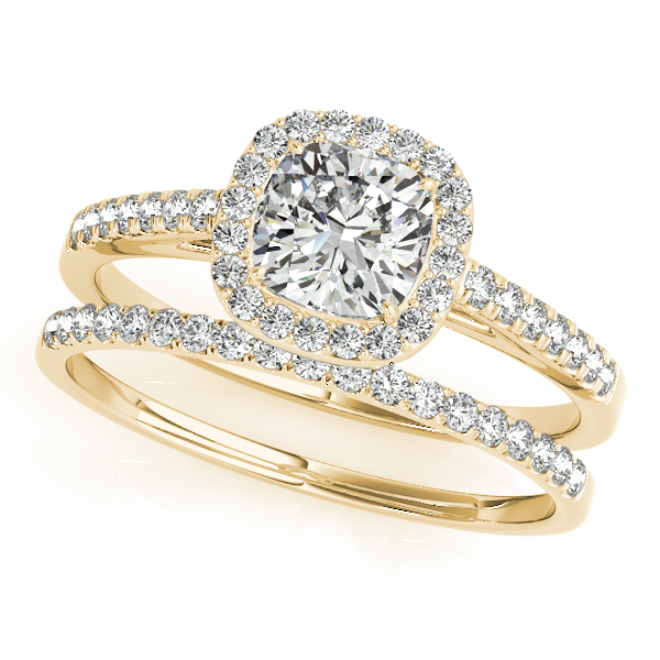 14K Yellow Gold Halo Engagement Ring Image 3  ,