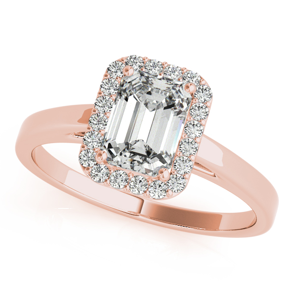 18K Rose Gold Emerald Halo Engagement Ring Douglas Diamonds Faribault, MN