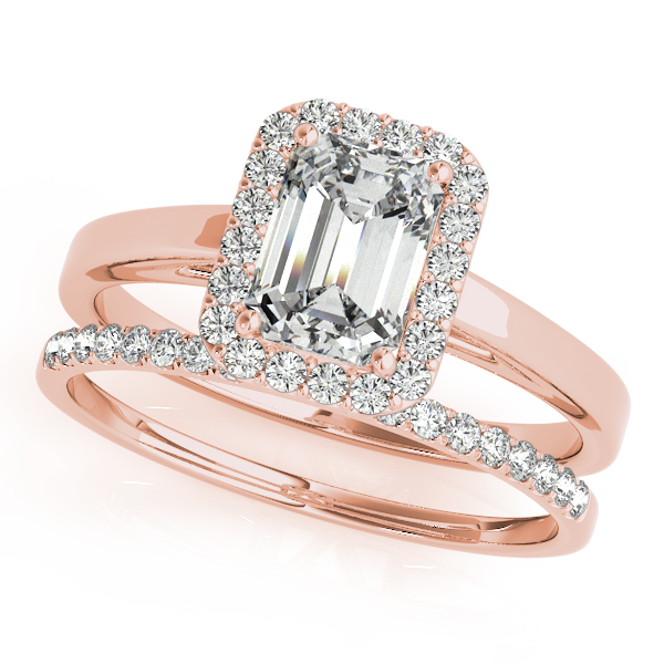 18K Rose Gold Emerald Halo Engagement Ring Image 3  ,