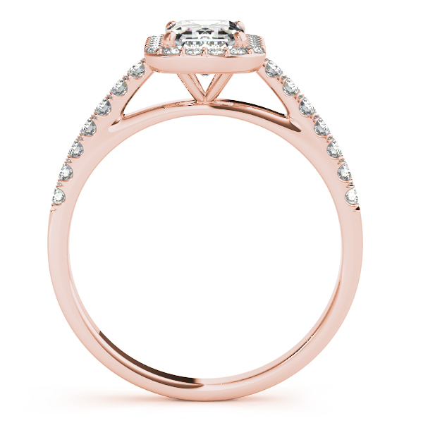 18K Rose Gold Emerald Halo Engagement Ring Image 2 Douglas Diamonds Faribault, MN