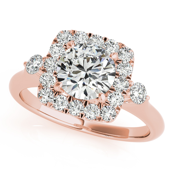 18K Rose Gold Round Halo Engagement Ring Douglas Diamonds Faribault, MN