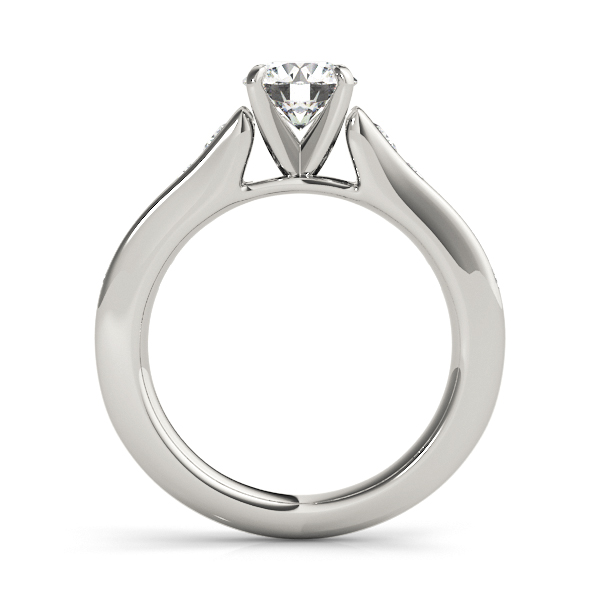14K White Gold Single Row Engagement Ring Image 2  ,