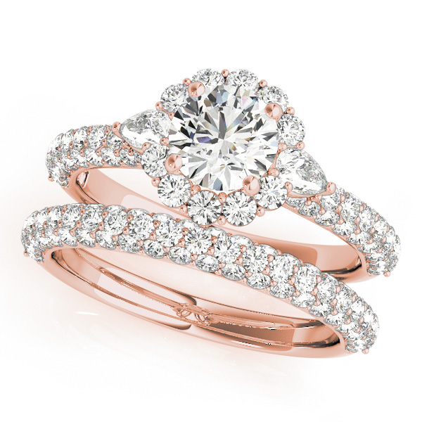 18K Rose Gold Pavé Engagement Ring MULT ROW Image 3  ,