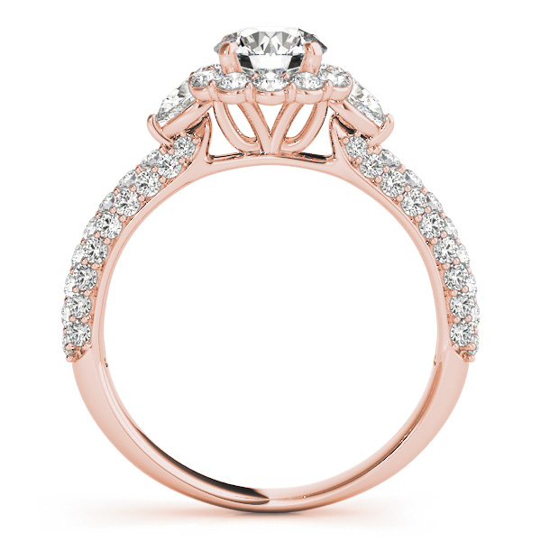 18K Rose Gold Pavé Engagement Ring MULT ROW Image 2  ,