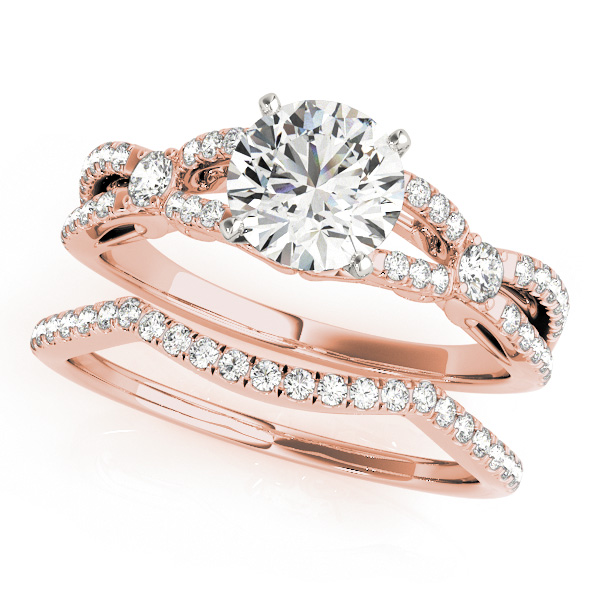 18K Rose Gold Engagement Ring Image 3  ,