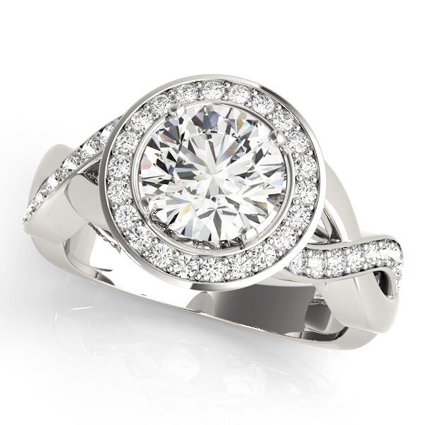 18K White Gold Halo Engagement Ring Douglas Diamonds Faribault, MN