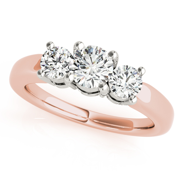 14K Rose Gold Three-Stone Round Engagement Ring Douglas Diamonds Faribault, MN