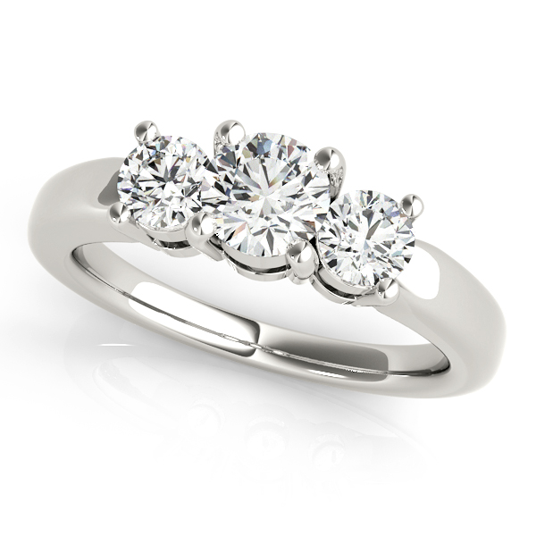10K White Gold Three-Stone Round Engagement Ring Douglas Diamonds Faribault, MN