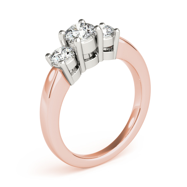 18K Rose Gold Three-Stone Round Engagement Ring Image 3 Douglas Diamonds Faribault, MN