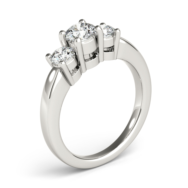 Platinum Three-Stone Round Engagement Ring Image 3 Atlanta West Jewelry Douglasville, GA