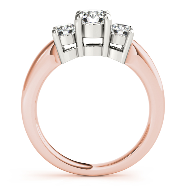 14K Rose Gold Three-Stone Round Engagement Ring Image 2  ,