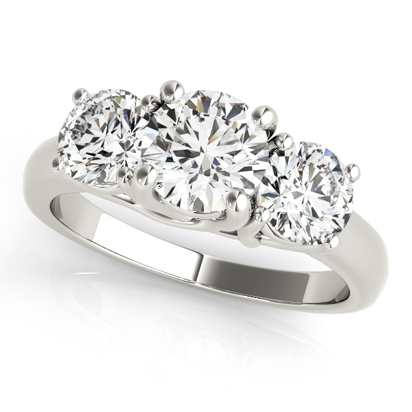 Platinum Three-Stone Round Engagement Ring Douglas Diamonds Faribault, MN