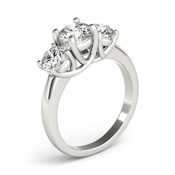 14K White Gold Three-Stone Round Engagement Ring Image 3 Douglas Diamonds Faribault, MN