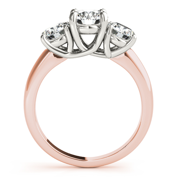 10K Rose Gold Three-Stone Round Engagement Ring Image 2  ,