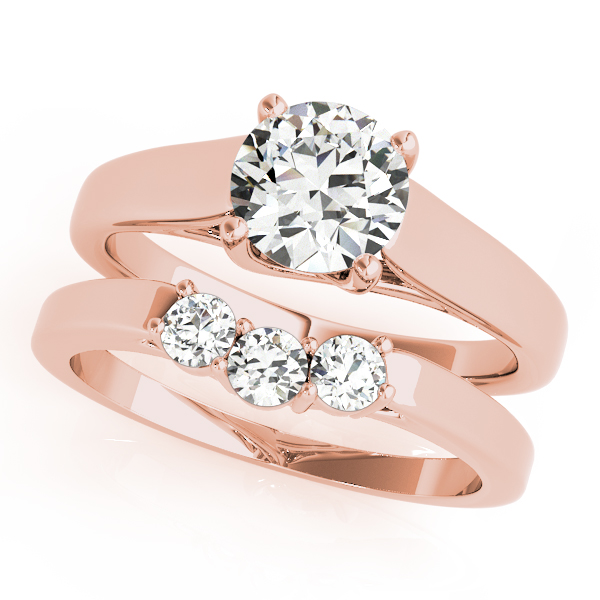 18K Rose Gold Trellis Engagement Ring Image 3  ,