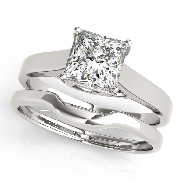 10K White Gold Princess Solitaire Engagement Ring Image 3  ,