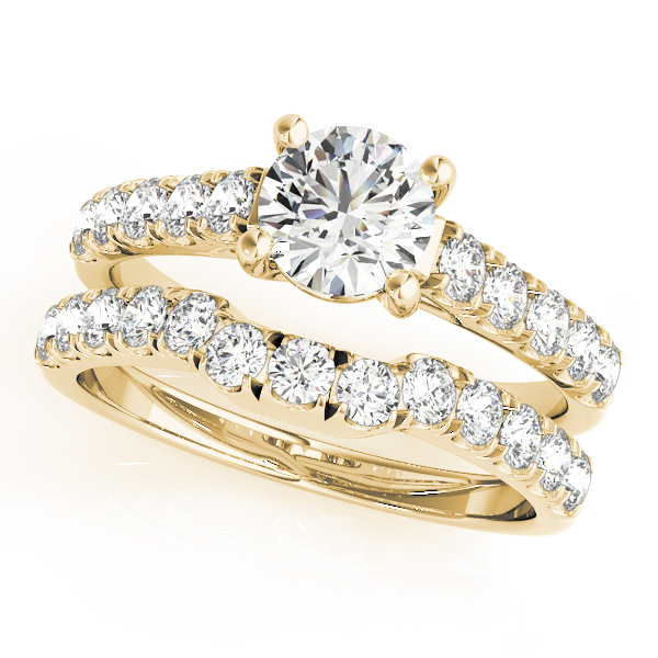 14K Yellow Gold Trellis Engagement Ring Image 3  ,