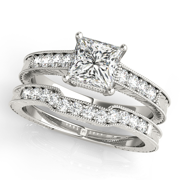 18K White Gold Antique Engagement Ring Image 3  ,