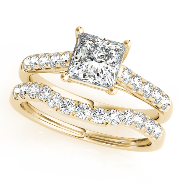 10K Yellow Gold Trellis Engagement Ring Image 3  ,
