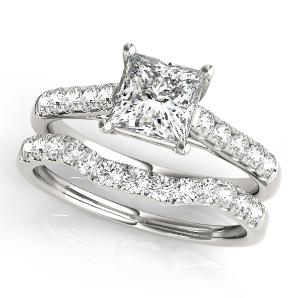 14K White Gold Trellis Engagement Ring Image 3  ,