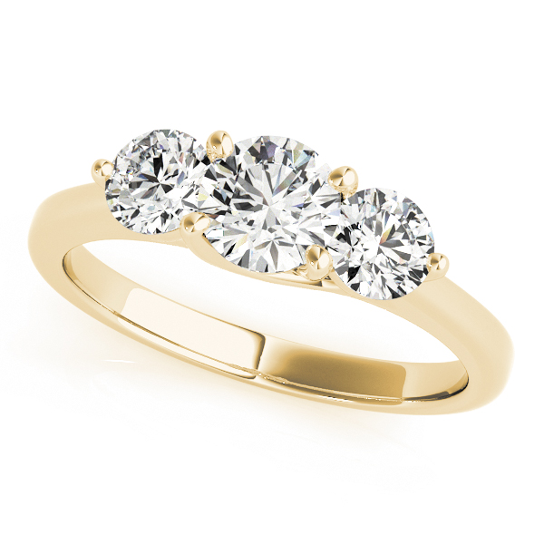 14K Yellow Gold Three-Stone Round Engagement Ring Douglas Diamonds Faribault, MN