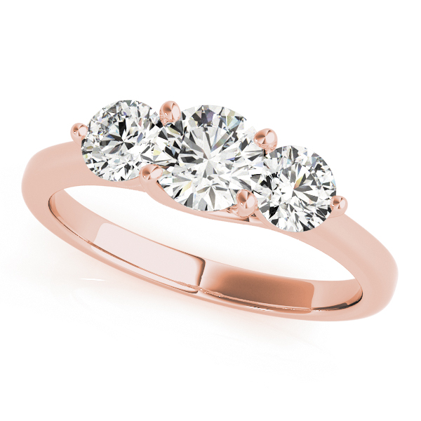 18K Rose Gold Three-Stone Round Engagement Ring Douglas Diamonds Faribault, MN