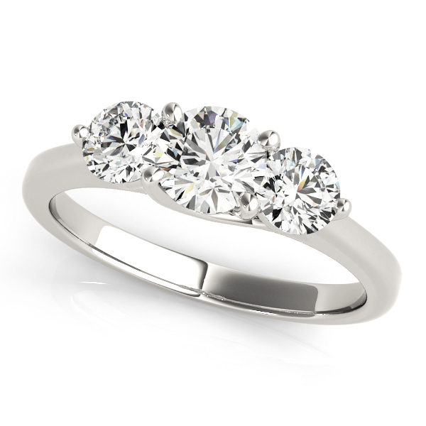 14K White Gold Three-Stone Round Engagement Ring Douglas Diamonds Faribault, MN