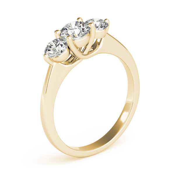 14K Yellow Gold Three-Stone Round Engagement Ring Image 3 Douglas Diamonds Faribault, MN