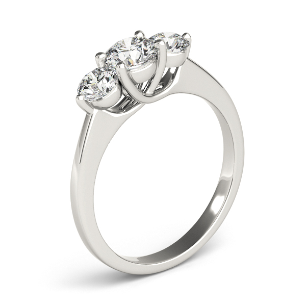 14K White Gold Three-Stone Round Engagement Ring Image 3 Atlanta West Jewelry Douglasville, GA