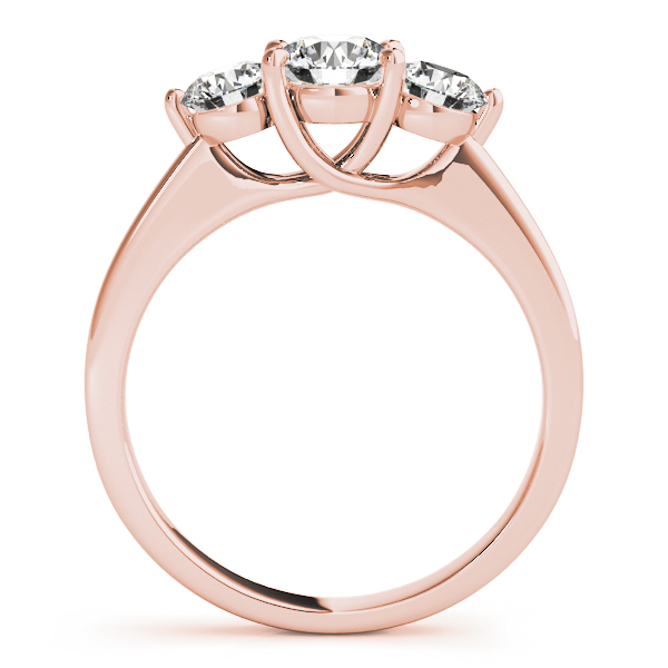 18K Rose Gold Three-Stone Round Engagement Ring Image 2 Douglas Diamonds Faribault, MN