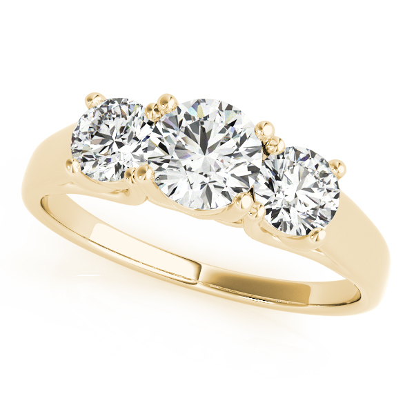 18K Yellow Gold Three-Stone Round Engagement Ring Douglas Diamonds Faribault, MN