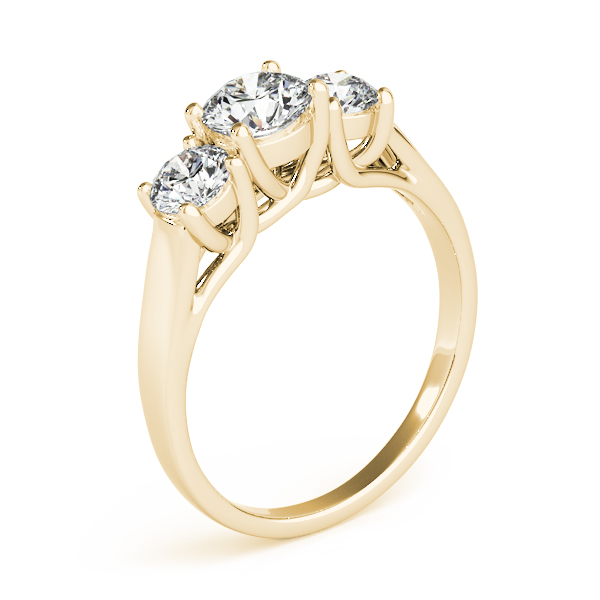 14K Yellow Gold Three-Stone Round Engagement Ring Image 3 Atlanta West Jewelry Douglasville, GA