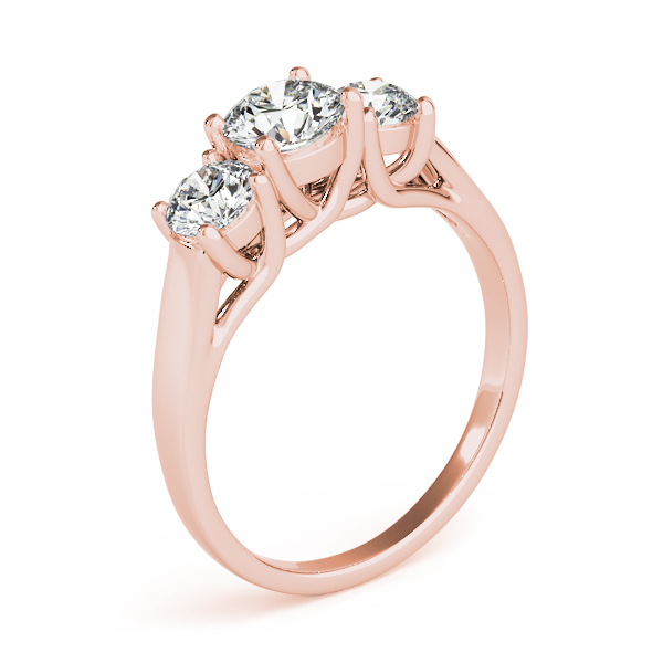 14K Rose Gold Three-Stone Round Engagement Ring Image 3 Douglas Diamonds Faribault, MN