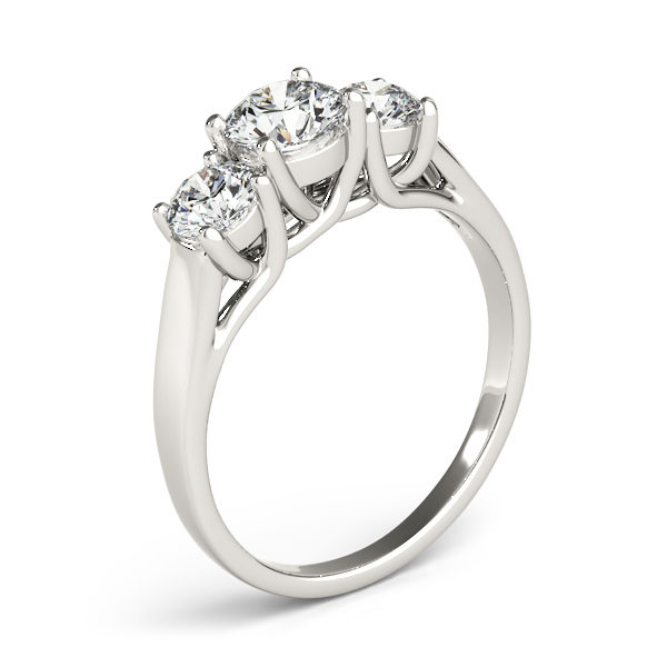 10K White Gold Three-Stone Round Engagement Ring Image 3  ,