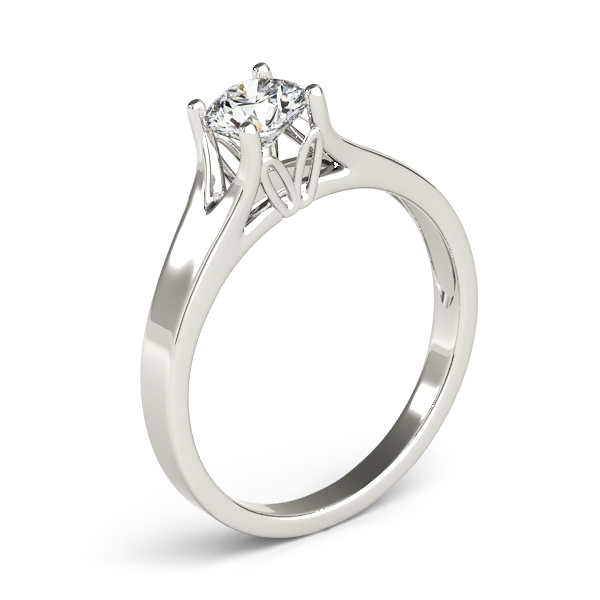 10K White Gold Round Solitaire Engagement Ring Image 3  ,