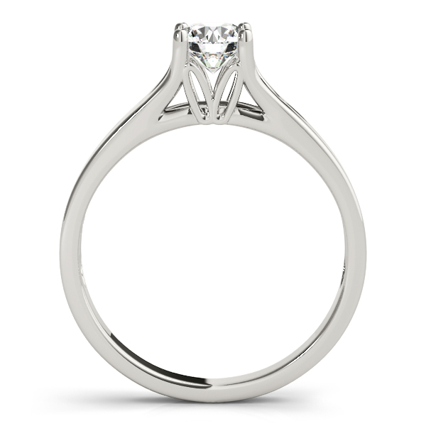 10K White Gold Round Solitaire Engagement Ring Image 2  ,