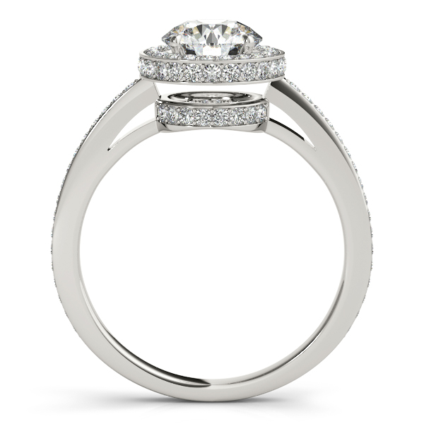 Platinum Round Halo Engagement Ring Image 2  ,