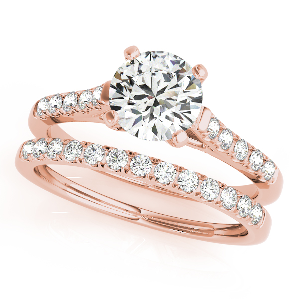 18K Rose Gold Single Row Prong Engagement Ring Image 3  ,