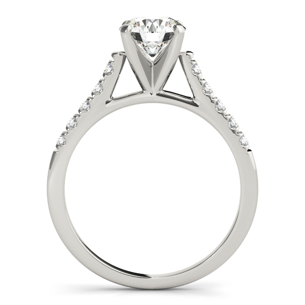 10K White Gold Single Row Prong Engagement Ring Image 2  ,