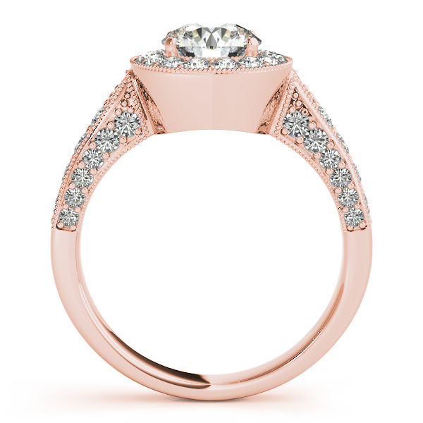 18K Rose Gold Round Halo Engagement Ring Image 2 Bell Jewelers Murfreesboro, TN