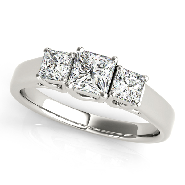 14K White Gold Princess Three-Stone Engagement Ring Atlanta West Jewelry Douglasville, GA