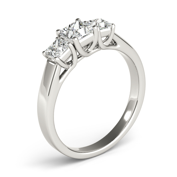 10K White Gold Princess Three-Stone Engagement Ring Image 3  ,