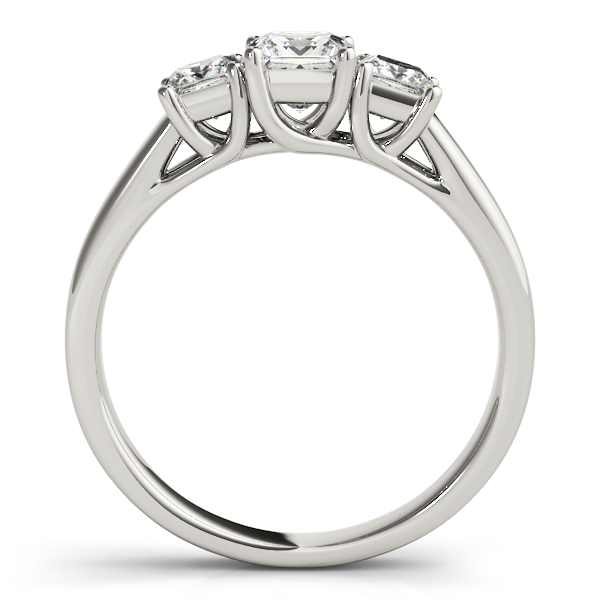 10K White Gold Princess Three-Stone Engagement Ring Image 2  ,