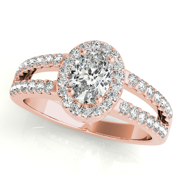 10K Rose Gold Oval Halo Engagement Ring Douglas Diamonds Faribault, MN