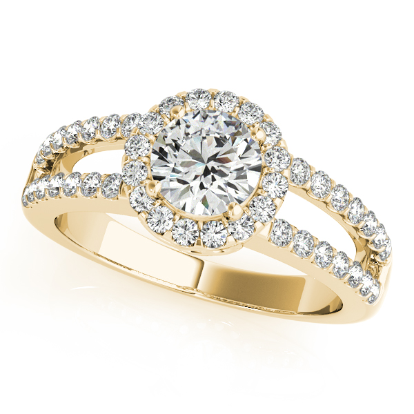 14K Yellow Gold Round Halo Engagement Ring Douglas Diamonds Faribault, MN