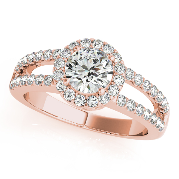 18K Rose Gold Round Halo Engagement Ring Champaign Jewelers Champaign, IL