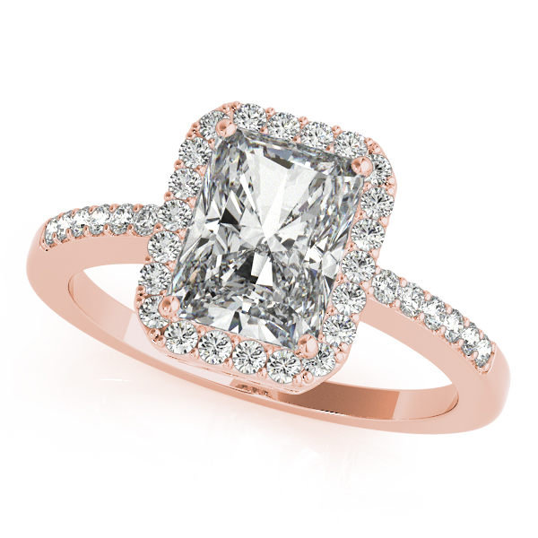 14K Rose Gold Emerald Halo Engagement Ring Champaign Jewelers Champaign, IL